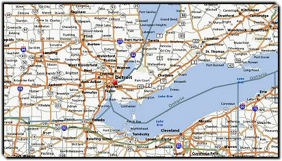 Detroit Map: 555 Metro Airport Transportation Service, Detroit, MI